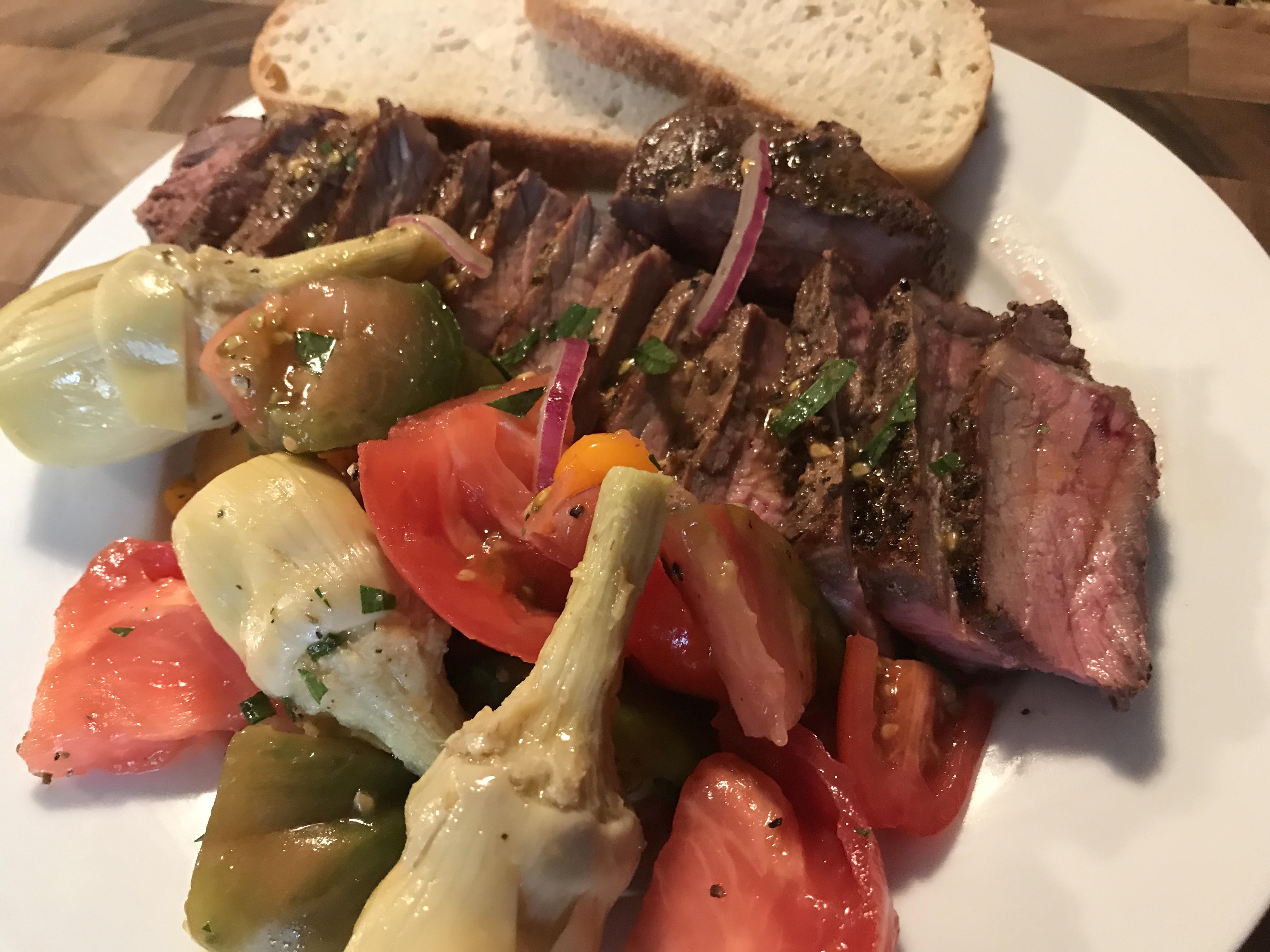 Marinated Flank Steak With Heirloom Tomato Salad (2)
