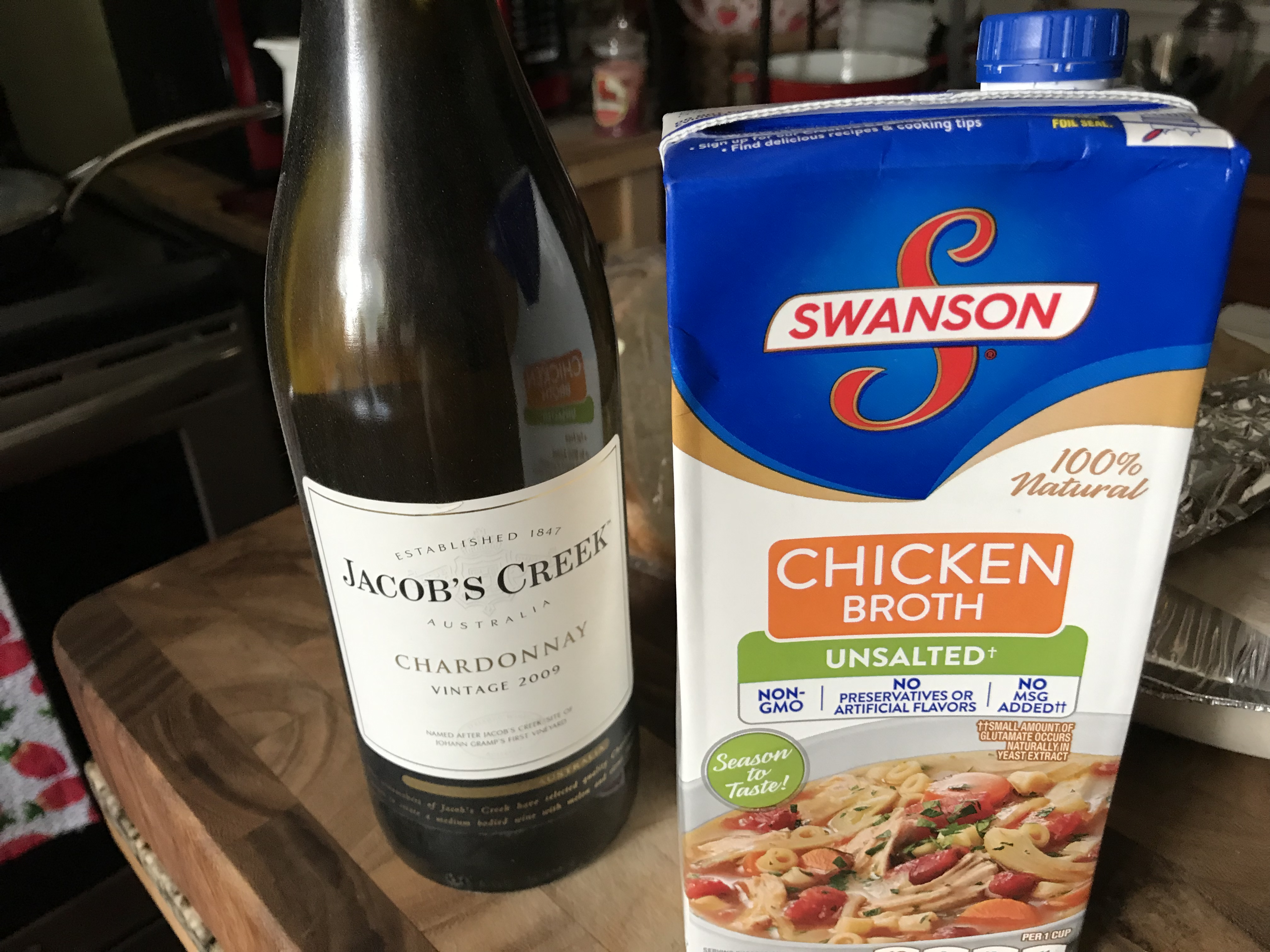 White Wine And Unsalted Chicken Broth