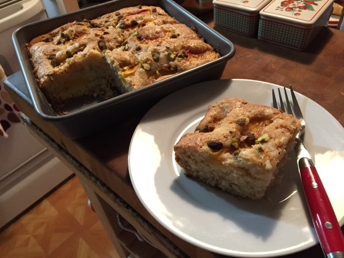 Fresh Peach Cake Topped With Pistachios