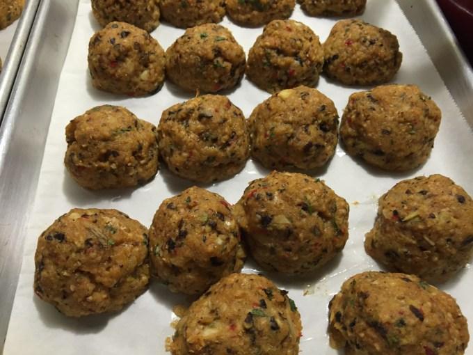 Roasted Eggplant Vegetarian Meatballs In Marinara Sauce