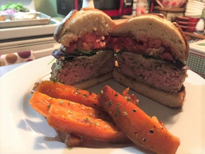 Monday Night Football Burgers On Prezel Buns With Roasted Sweet Potatoes