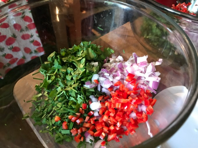 Red Onion, Mini Sweet Pepper, Italian flat-leaf Parsley